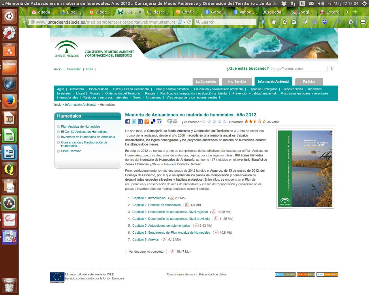 Memoria de Actuaciones en materia de humedales. Año 2012